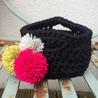 Crochet basket - black with pompoms