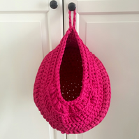 Large crochet hanging basket -  hot pink