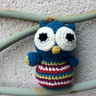 Stripey owl - teal blue
