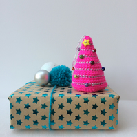 Crochet hanging tree decoration - bright pink
