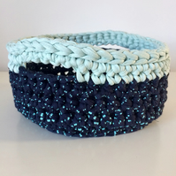 Crochet basket - blue dots