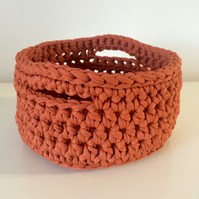 Crochet basket - rusty orange