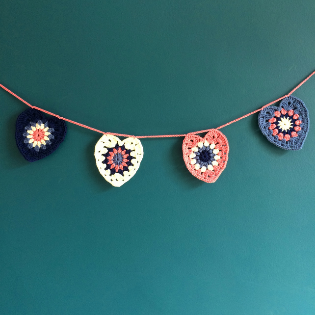 Crochet heart bunting - blue and pink