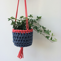 Crochet hanging plant pot - coral pink and denim blue