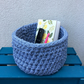 Crochet basket - blue and white Nordic print