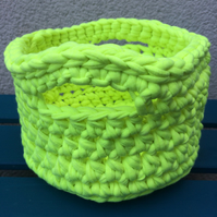Crochet basket - neon yellow