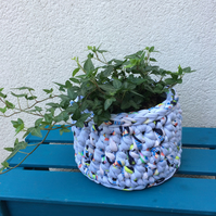 Crochet basket - pale blue multi