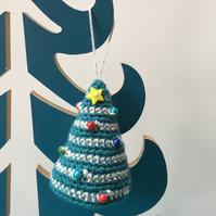 Crochet hanging tree decoration - teal