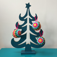 Bright and colourful crochet Christmas bauble