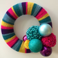Crochet Christmas wreath, pompom wreath, bauble wreath, free UK shipping