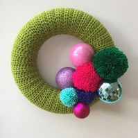 Crochet Christmas wreath with baubles and pompoms, free UK shipping