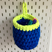 Small crochet hanging basket, pegboard basket - blue and neon yellow