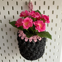Small crochet hanging basket, pegboard basket - grey and pink