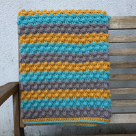 Teal and Mustard Crochet Bobble Blanket, Crochet Throw, Free UK Shipping