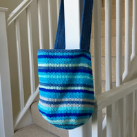 Turquoise and Blue Crochet Cotton Tote Bag, Shoulder Bag, Free UK Shipping
