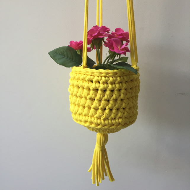 Crochet hanging planter - citrus yellow - free UK shipping