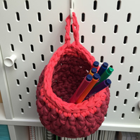 Small crochet hanging basket, pegboard basket - coral and raspberry