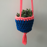 Crochet hanging planter - cobalt blue and neon pink - free UK shipping