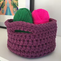 Crochet basket made with upcycled tshirt yarn - purple