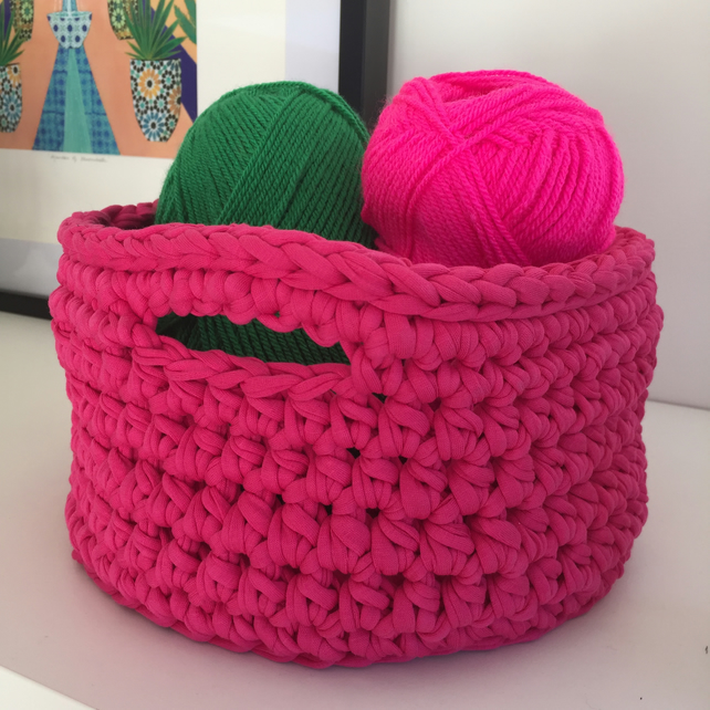 Crochet basket made with upcycled tshirt yarn - bright pink