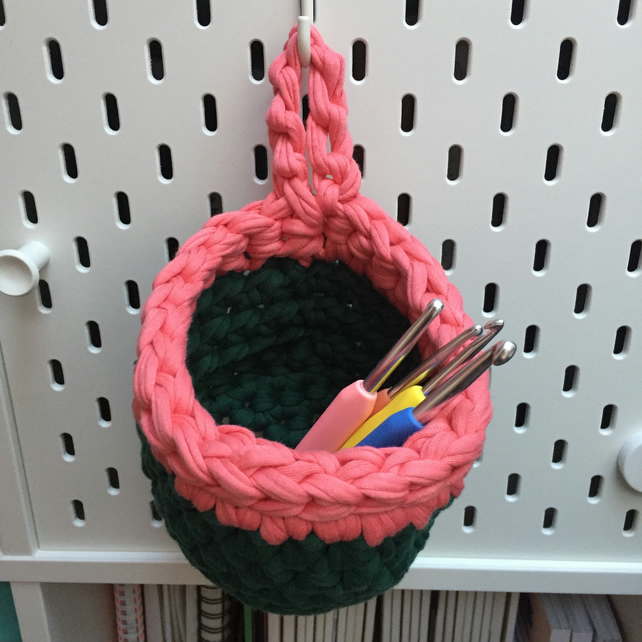 Small crochet hanging basket, pegboard basket - green and coral