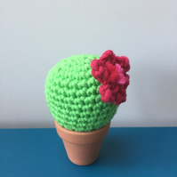 Crochet cactus with hot pink flower - light green