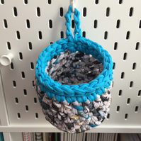 Small crochet hanging basket, pegboard basket - turquoise and patterned