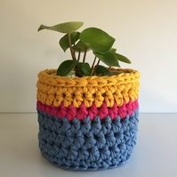 Crochet plant pot cover made with upcycled tshirt yarn - yellow medium