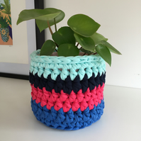 Crochet plant pot cover made with upcycled tshirt yarn - turquoise small