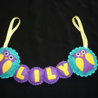 Owl Personalised name Banner
