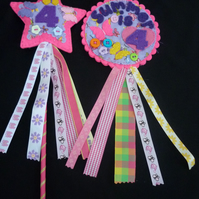 Birthday badge-Rosette and Matching Wand - Personalised