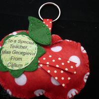 Teachers  Personalised apple keyring