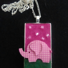Felt Elephant Pendant Necklace
