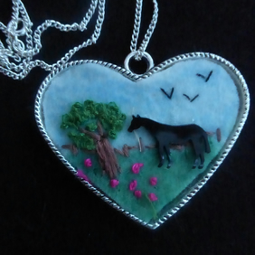 Felt Embroidered Horse Landscape Heart Necklace