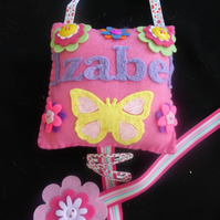 Personalised Butterfly and flower Hair Clip Hanger - tidy