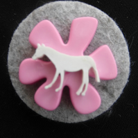 Horse Felt and Button Brooch