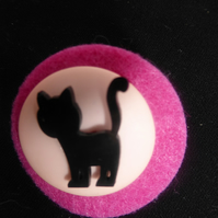 Cat Felt and Button Brooch