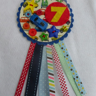 Birthday badge-Rosette Personalised - Car Theme