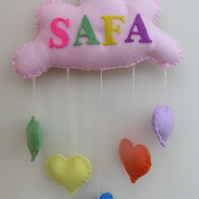 Personalised Cloud - Rainbow Heart  Door hanger - Banner