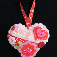 Personalised Heart Door hanger for Girls
