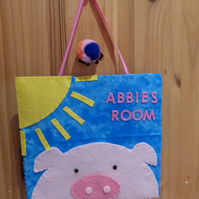 Personalised Pig Door hanger