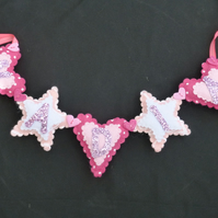 Personalised Name banner - Hearts and Stars