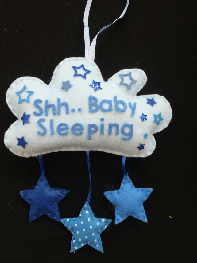 Cloud - Shhh Baby Sleeping door hanger