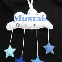Personalised Cloud Name banner -  Hearts and Stars
