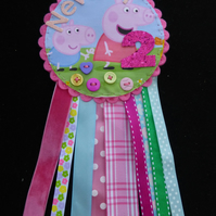 Birthday badge-Rosette Personalised - Pig