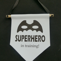 Super Hero mini wall banner, Canvas wall banner, Childrens room