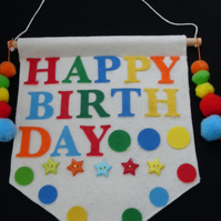 Happy Birthday wall banner, Felt Banner