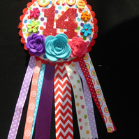 Birthday badge-Rosette Personalised