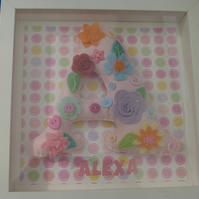 Initial Felt padded letter picture - Personalised