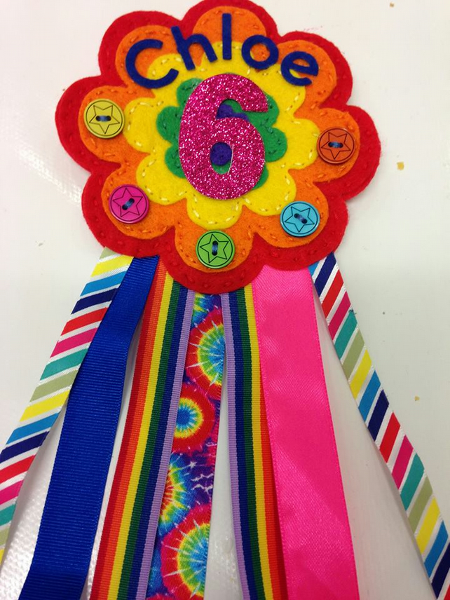 Birthday badge-Rosette Rainbow Flower